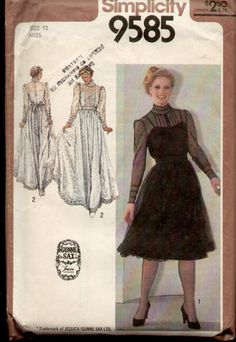 Simplicity 9585 Vintage 1980s Gunne Sax Illusion Wedding Dress Pattern B34