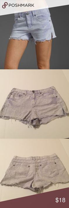 Free People Purple Denim Cut-Off Shorts, size 30 Free People Purple (lavender) high rise denim cut-off shorts in size 30. In excellent shape. Rise is 10.5 and inseam is 3. Color is a soft lavender with variations of shading done by the manufacturer. Made from 100% cotton. Please ask if you have any questions. Free People Shorts Jean Shorts