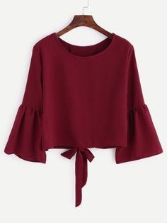 Shop Burgundy Bell Sleeve Bow Tie Back Blouse online. SheIn offers Burgundy Bell Sleeve Bow Tie Back Blouse & more to fit your fashionable needs. Hijab Fashion, Teen Fashion, Fashion Outfits, Fashion Trends, Fashion Black, Fashion Styles, Fashion News, Summer Outfits, Girl Outfits