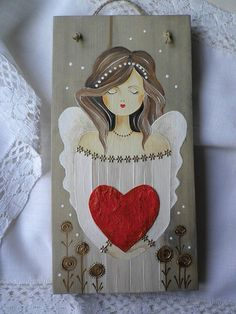 Pallet Painting, Painting On Wood, Painting & Drawing, Christmas Drawing, Christmas Paintings, Arte Popular, Angel Art, Religious Art, Painting Inspiration