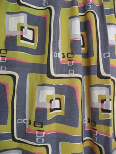 1950s Abstract Barkcloth Mid Century Modern Fabric