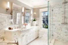 White & Gray marble bathroom designed by Scavullo Design