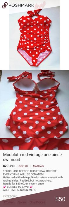 Modcloth red polka dot vintage one piece swimsuit Halter red with white polka dot retro swimsuit with ruched sides. Padded, but not a push up. Retails for $89.99, worn twice. Pristine condition. I have peach colored hair now so I am looking for something more in the blue spectrum! Tag says medium, fits more like a small in my opinion so listing as such. ModCloth Swim One Pieces