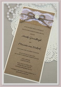 Rustic wedding invitation by NoteACard, with lace, hessian, and pearls