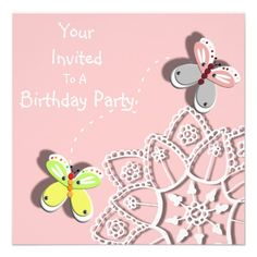 Cute Whimsical Butterflies Flower Party Invitation   Just the thing for any little girl these cute whimsical butterflies and lace flower in pretty pastel shades of pink, grey, yellow, green orange and white. The perfect party invitations all ready for you to personalize with your details.
