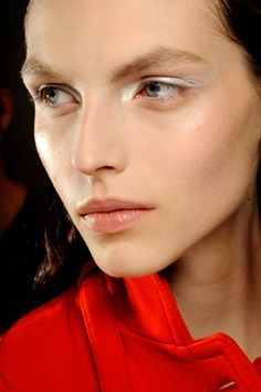 Red hot, soft but serious makeup. Fall 2012 Giambattista Valli