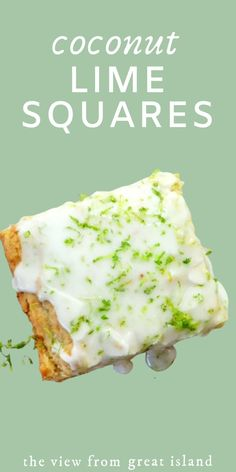 Coconut Lime Squares ~ When the craving for rum, fresh coconut, and lime hits, this is your go to dessert. Basically it's a coconut rum blondie with a lime glaze! Tropical Desserts, Lime Desserts, Great Desserts, Delicious Desserts, Dessert Recipes, Plated Desserts, Lime Recipes Baking, Coconut Lime Recipes, Coconut Rum