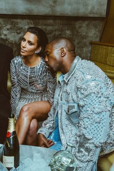 """celebritiesofcolor: """" Kim Kardashian and Kanye West at the After MET Gala Party hosted by BALMAIN held at Gilded Lily """" Kim And Kanye, Kim Kardashian And Kanye, Kardashian Style, Kardashian Jenner, Kardashian Family, Martin Luther King, Estilo Swag, Reality Shows, Famous Couples"""