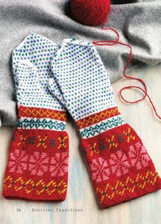 Ravelry: Korsnäs-Inspired Mittens pattern by Carol Huebscher Rhoades Fingerless Mittens, Knit Mittens, Knitting Socks, Mitten Gloves, Hand Knitting, Knitting Patterns, Knit Socks, Knitting Ideas, Tapestry Crochet