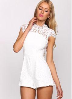NWT SIZE 10 crisp white lace PEEK A BOO cocktail jumpsuit dress PLAYSUIT MINI #angelbiba