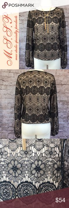 "Beautiful black lace double layer blouse 🍂 This is so gorgeous! Exquisite delicate black lace over a nude crepe lining. Hidden elastic at bottom hem and sleeves. Blouson fit. Purchased at Max Studio boutique a few years ago and wore just one time to a holiday event. Beautiful condition! Measures about 40"" chest and 24"" length. Size small. Non smoking home. Max Studio Specialty Products Tops Blouses"