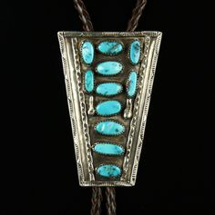 Big Sterling Bolo Tie with 11 Turquoise Nuggets