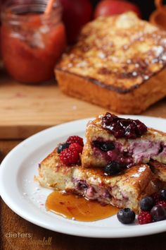 Mixed Berry Jam in a stuffed french toast breakfast. from #dietersdownfall.com