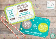 Faire Part, invitation, card, kids, baptême, enfant, circus, cirque http://studio-lou.fr/