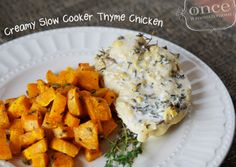 Creamy Slow Cooker Thyme Chicken | OAMC from Once A Month Mom