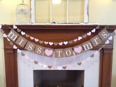 Bridal Shower Decoration Bridal Shower Banner Miss To Mrs. Banner Paper Heart Garland Bachelorette Party CUSTOM colors - you pick colors -