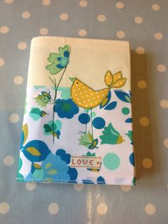 'Little Bird' removable note book cover for A5 notebook. Hand sewn. Love Sewing range.