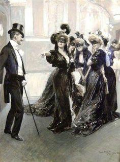 Oscar Bluhm Maskenball in schwarz weiss Mascarade in black and white