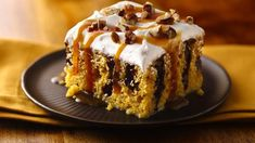 Irresistibly moist pumpkin cake! Pockets of fudgy topping. Caramel drizzles. Yum.