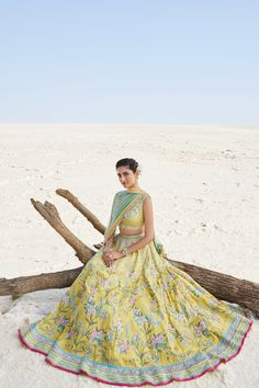 Check Top 10 unique colors of bridal lehenga by Anita Dongre. Get insipiration for your bridal lehenga color from Anita Dongre's collection. Bridal Lehenga images you must check out. Maya Ali, Indian Wedding Outfits, Indian Outfits, Indian Clothes, Indian Weddings, Yellow Lehenga, Bridal Lehenga Choli, Pakistani Bridal, Brocade Lehenga