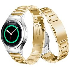 Stainless Steel Watch Band   Connector For Samsung Gear S2 RM-720 Gold