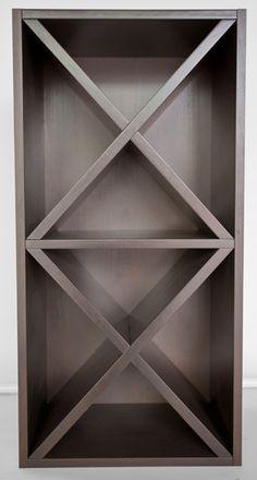 Custom made X wine rack. #nickelscabinets