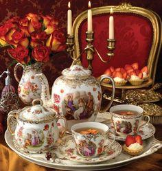 Sada na čaj *  malovaný porcelán, zdobený zlatem.