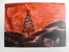 Encaustic wax art painting of a landscape with tree. I used an ink stamper to…