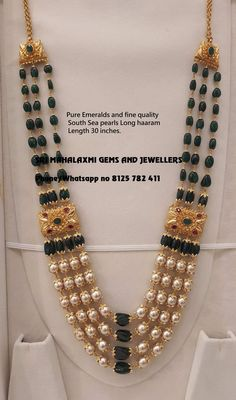 Sri Mahalaxmi Gems and Jewellers will always bring the finest collection silver tho muthyla haram you.Presenting Fine quality Emeralds and south sea pearls 4 rows haaram. Contact no 8125 782 411 30 June 2019 Gold Jewellery Design, Bead Jewellery, Beaded Jewelry, Pearl Jewelry, Tikka Jewelry, India Jewelry, Antique Jewelry, Gold Jewelry Simple, Stylish Jewelry