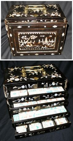 Antique set with mother-of-pearl inlay