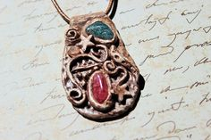 Clay Pendant, Unique Necklace, Glass Gems, Unusual Jewellery, Boho, Bohemian Jewelry, Clay Necklace, Witchcraft, Witches, Hippy Jewellery,