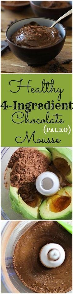 Healthy 4-Ingredient Chocolate Mousse | TheRoastedRoot.net #recipe #dessert #paleo