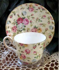 Heirloom Antique Rose Chintz Bone China Tea Cup & Saucer. Made in Staffordshire, England.