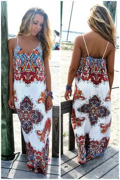 ade2261b75 Lakeshore Red Moroccan Tribal Print Maxi Dress Morrocan Fashion