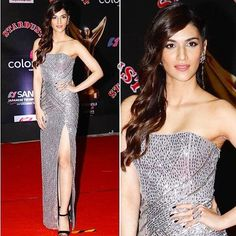 Kriti Sanon wearing an outfit from Papa Dont Preach by Shubhika and jewellery by Minerali for the Stardust Awards  #bollywoodcelebs #bollywoodclothes #indianfashion #inspiration #kirtisanon #greydress
