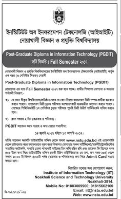 admission going on post graduate diploma in information technology at noakhali science and technology university sarkari niyog the best online job news