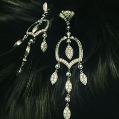 Chandelier Earrings to add glamour to an evening. Intricately crafted with diamonds and white gold.