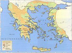 Esta imagen nos muestra la Grecia Peninsular,uno de los territorios que formaron la región Hélade entre los siglos V-VI antes de nuestra era.