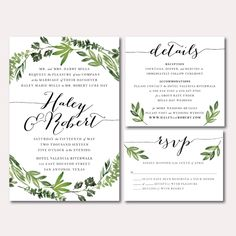Printable Wedding Invitation Suite - Botanical Wreath - Watercolor Botanicals, Leaves, Herbs by SagePapeterie on Etsy https://www.etsy.com/listing/267289115/printable-wedding-invitation-suite