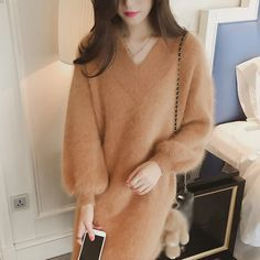 Shop for FR with YesStyle! Wide selection of authentic FR products. Fur Coat, Turtle Neck, V Neck, Womens Fashion, Casual, Sweaters, Jackets, Stuff To Buy, Shopping