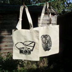 Organic tote bag Owl and Camera
