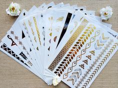 Four sheets of Gold, Black and Silver Temporary Metallic Tattoos.    {Placing Your Order}    Scroll through listing photos to view the letter (A-P)