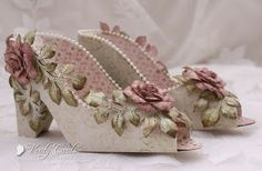 Elegant shoes made using Heartfelt Creations papers, stamps and dies.