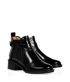 GIVENCHY  Black Glazed Leather Ankle Boots