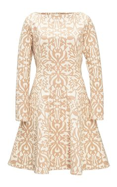 Tan Ornamental Jacquard Fit And Flare Dress by LELA ROSE for Preorder on Moda Operandi