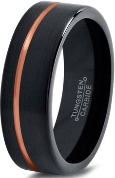 Tungsten Wedding Band Ring 6mm for Men Women Black & 18K Rose Gold Plated Offset Line Pipe Cut Brushed Polished. MODERN DESIGN - The brushed exterior, along with the interior polished surface, creates a lush, one-of-a-kind look that expresses your deep, infinite, and profound love. MADE OF QUALITY METAL - This ring is made of Tungsten, the world's strongest metal. WORRY- FREE METAL -Tungsten metal is hypoallergenic and will not tarnish. UNISEX STYLING - This design is perfect for both men...