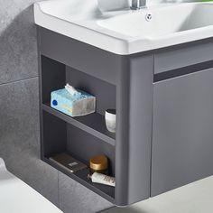 "Modern 24"" Grey Floating Ceramics Single Sink Bathroom Vanity Single Sink Bathroom Vanity, White Sink, Floating Wall, Space Saving, Storage Spaces, Thing 1, Ceramics, Steel Frame, Powder Room"