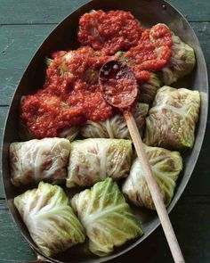 Stuffed Savoy Cabbage with Beef, Pork, and Rice in a Spicy Tomato Sauce. Use spring onion tops and garlic oil for Low FODMAP version