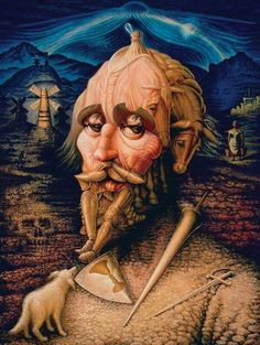 Dom Quixote - Octavio Ocampo Visiones del Quijote (Visions of Don Quixote) Optical Illusion Images, Optical Illusion Paintings, Amazing Optical Illusions, Illusion Kunst, Illusion Pictures, Art Optical, Illusion Art, Op Art, Image Halloween