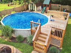 Above Ground Pool Landscaping, Above Ground Pool Decks, Backyard Pool Landscaping, Backyard Pool Designs, Above Ground Swimming Pools, In Ground Pools, Landscaping Ideas, Decking Ideas, Landscaping Plants